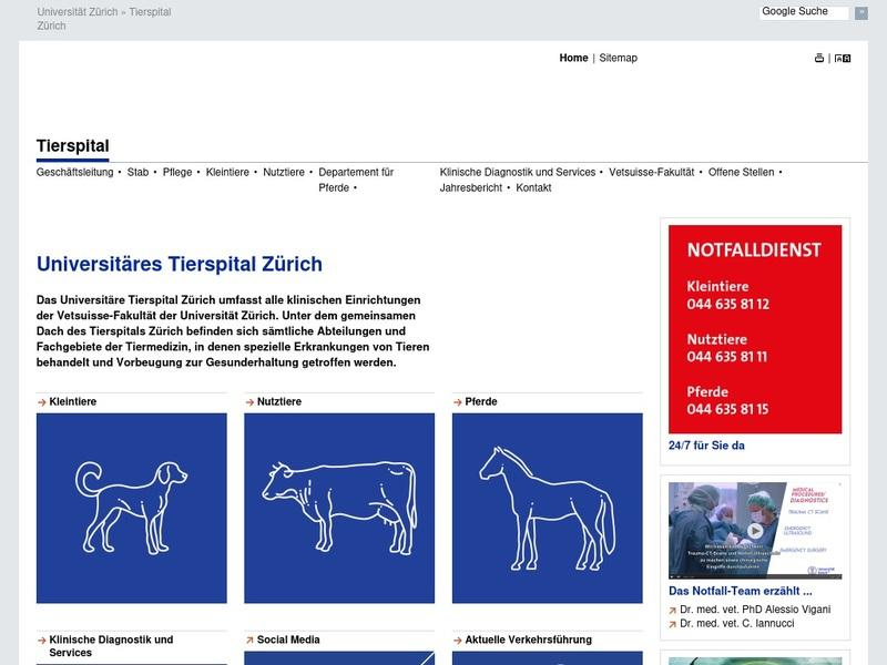 Screenshot von www.tierspital.uzh.ch